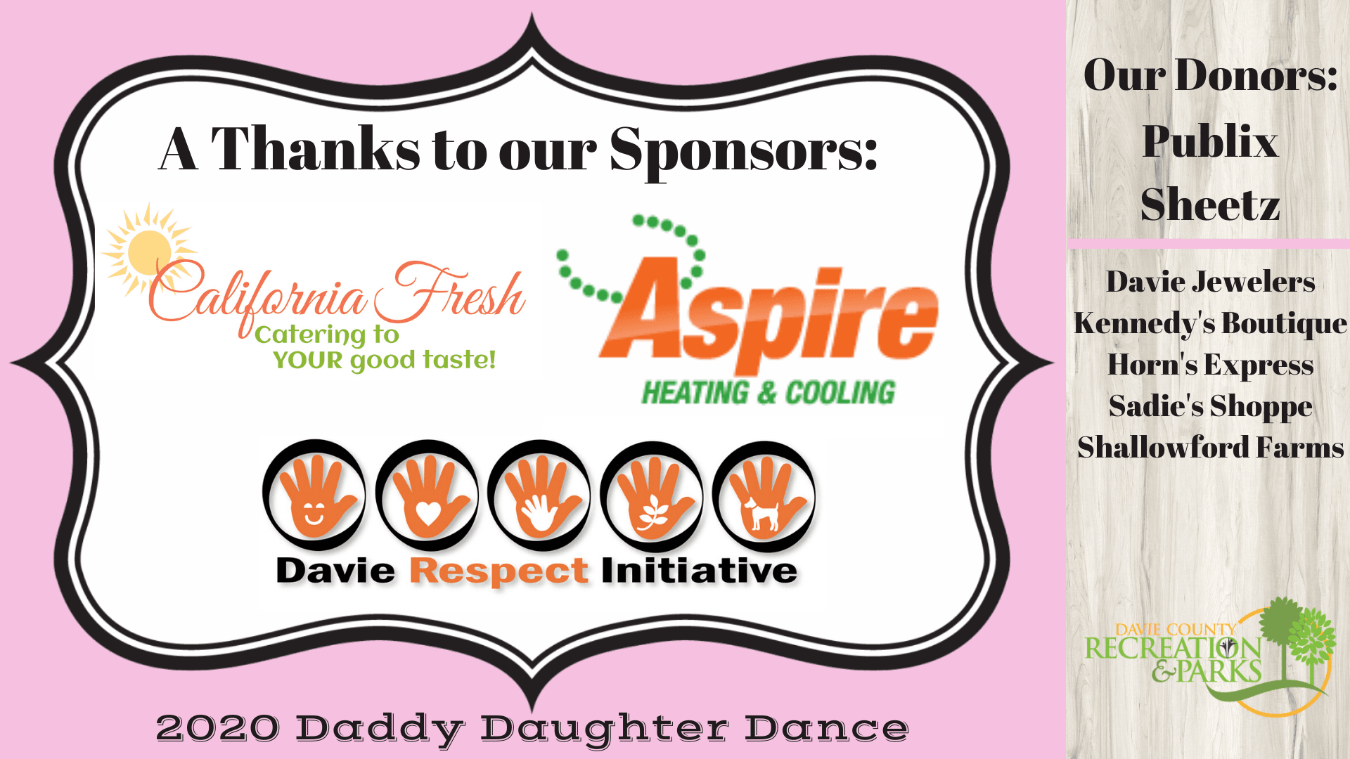 Daddy Daughter Dance 2020 Sponsor Thanks