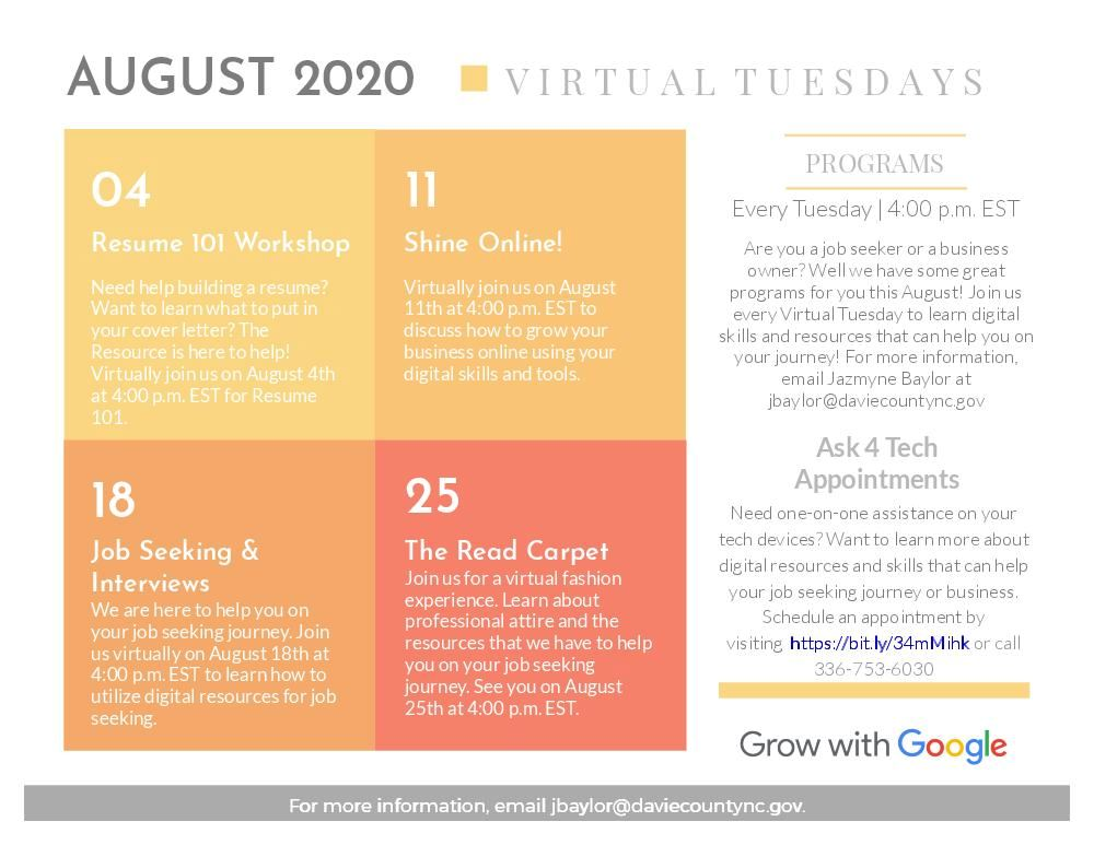Virtual Tuesdays Schedule of Events