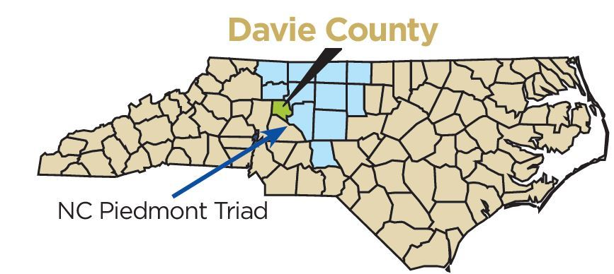 Davie County on a Map